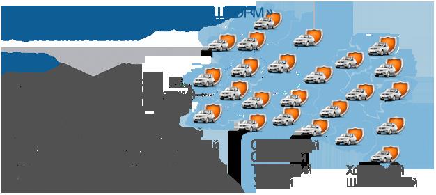 Территория реагирования ЧОП «ШТОРМ» в Орловской области